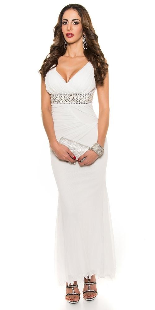 Biele dlhé večerné šaty Koucla in-sat1208wh
