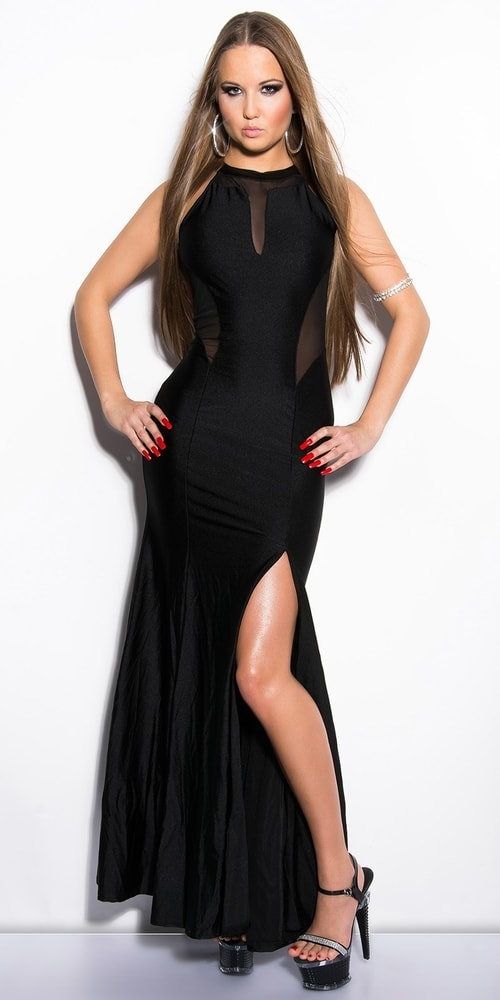 Čierne dlhé šaty - S/M Koucla in-sat1804bl