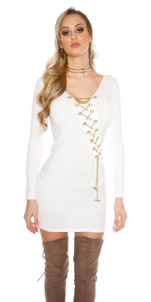 Biele úpletové šaty Koucla in-sat1294wh