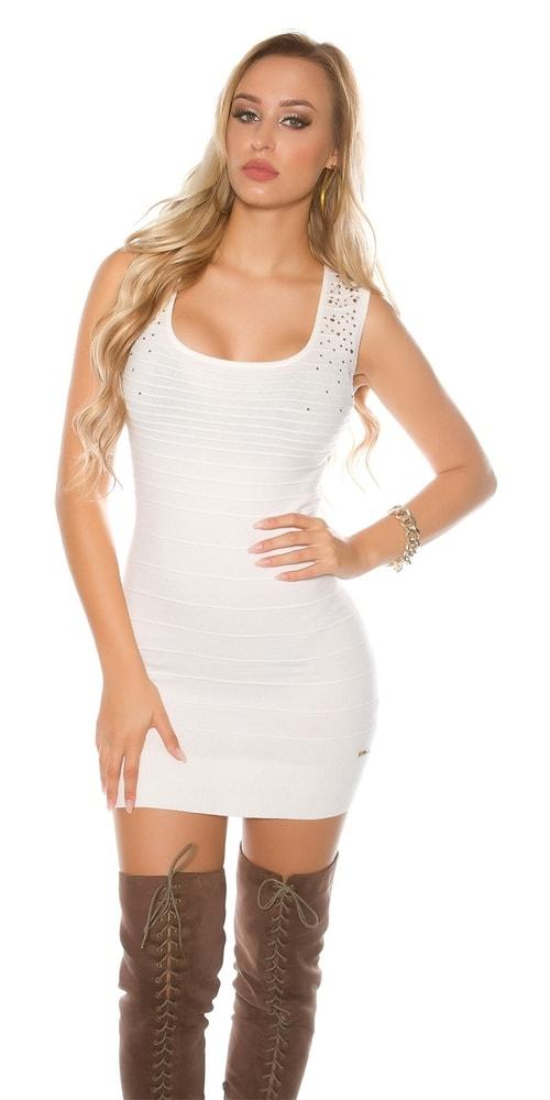 Dámské úpletové mini šaty Koucla in-sat1683wh