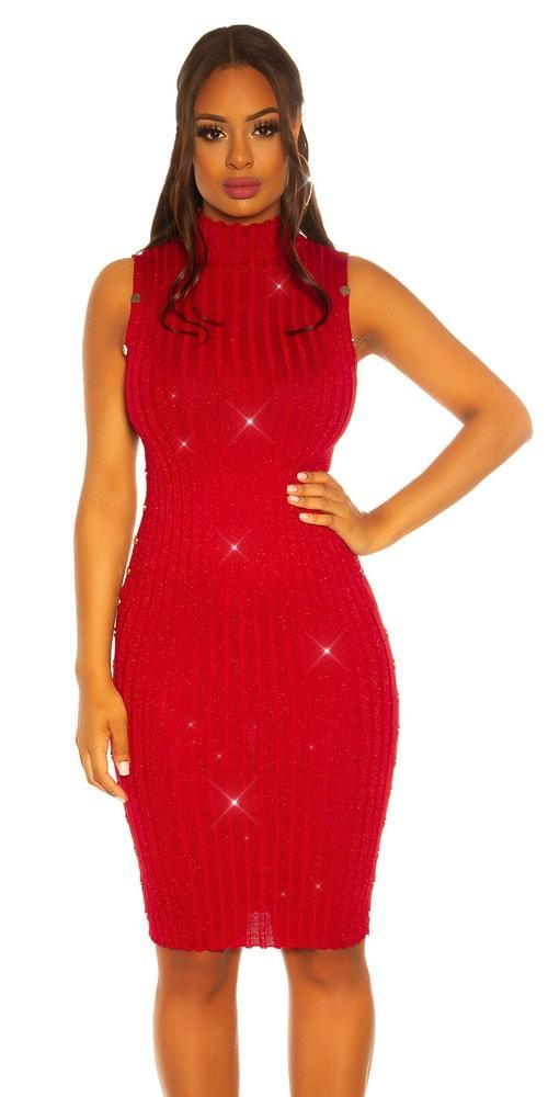 Červené úpletové šaty - S/M Koucla in-sat2073re