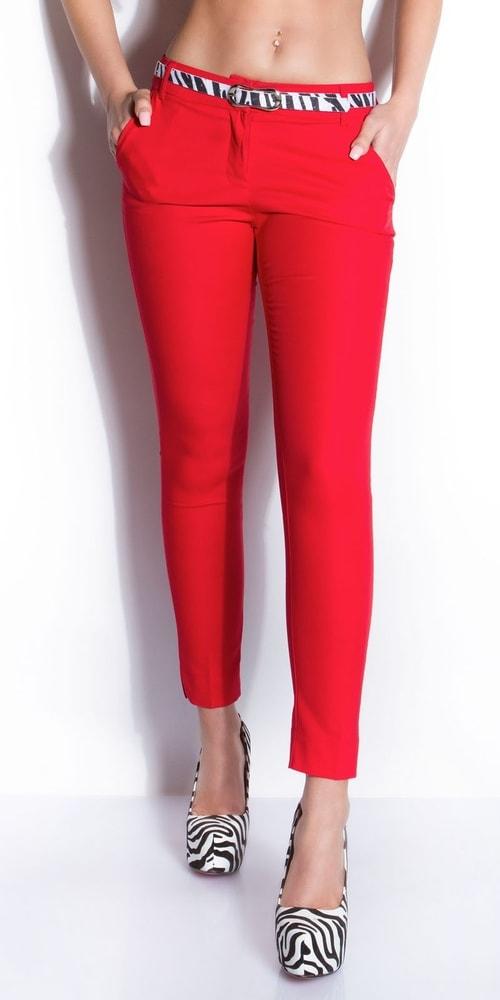 Červené dámske nohavice s opaskom Koucla in-ka1008re