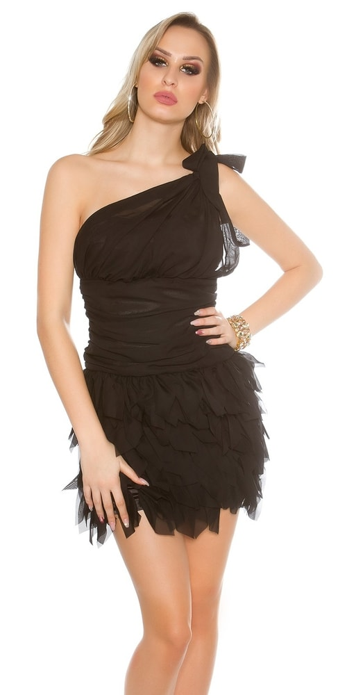 Čierne dámske koktejlové šaty - 40 Koucla in-sat1429bl