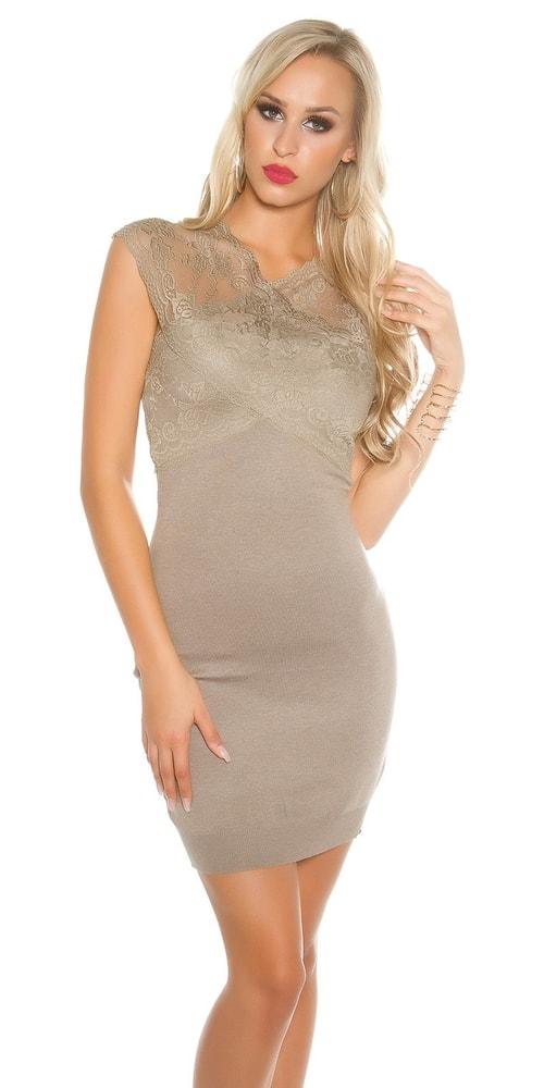 Dámske úpletové šaty s čipkou - S/M Koucla in-sat1402ca