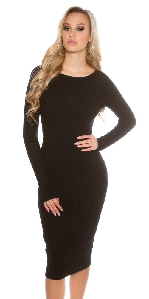 Čierne dámske pletené šaty Koucla in-sat1415bl