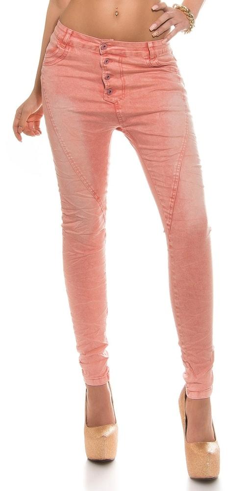 Moderné skinny džínsy - koralová Koucla in-ri1125ko
