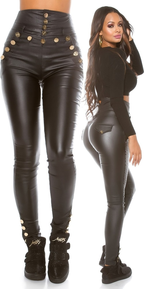 Čierne nohavice s vyšším pásom Koucla in-ka1127bl