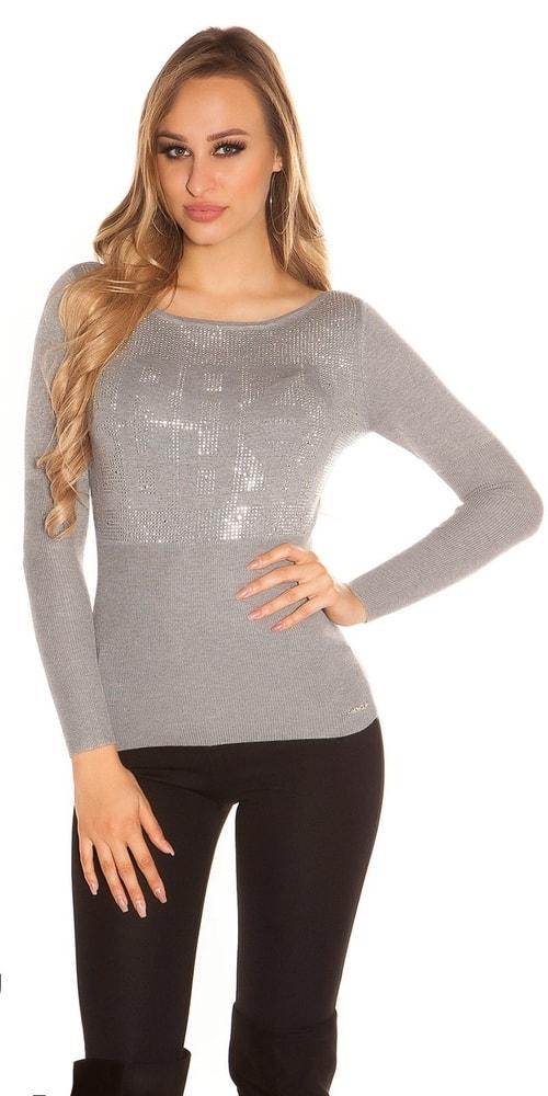 Trendy dámsky sveter - S/M Koucla in-sv1060gr