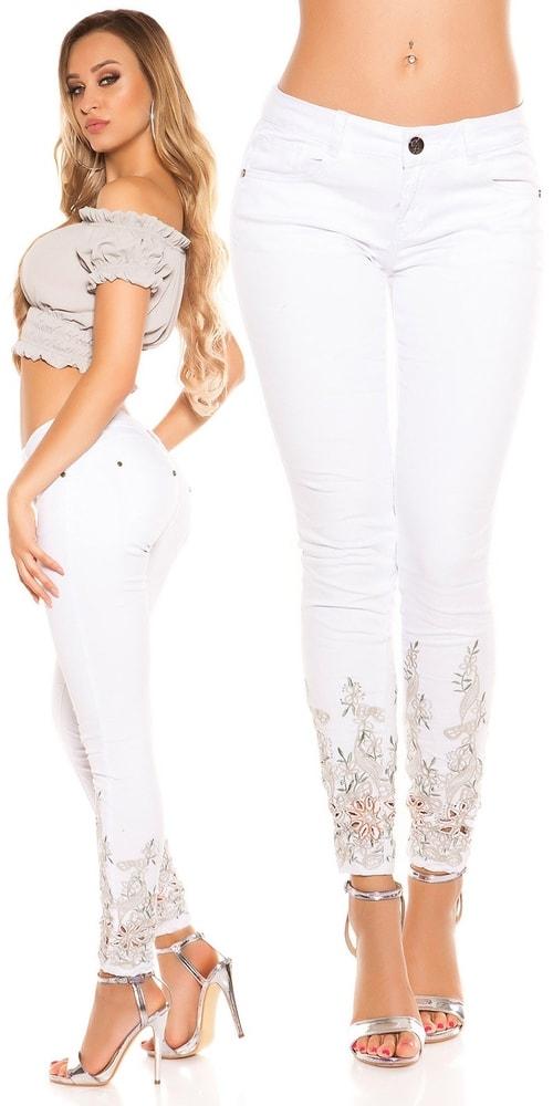 Bílé džíny s krajkou Koucla in-ri1104wh
