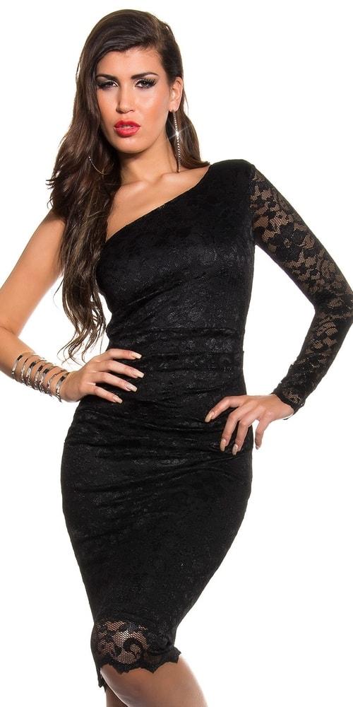 Čipkované šaty čierne Koucla in-sat1052bl