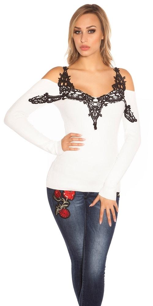 Dámsky sveter s čipkou Koucla in-sv1569wh