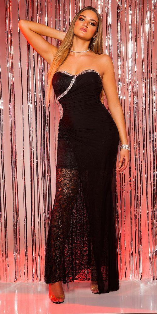 Čipkované čierne dlhé šaty - L Koucla in-sat1046bl