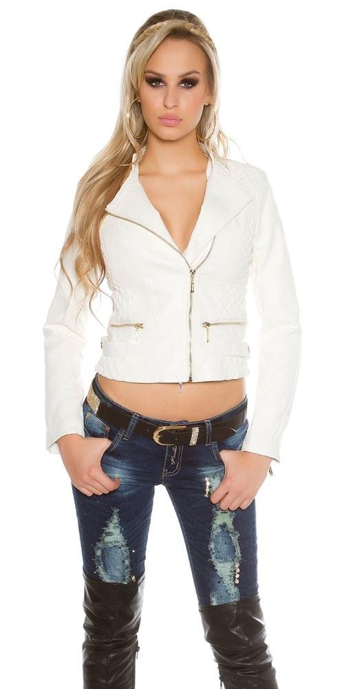 Biela koženková damska bunda - M Koucla in-bu1007wh