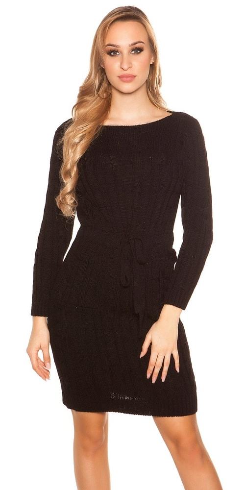 Čierne pletené šaty Koucla in-sat1942bl