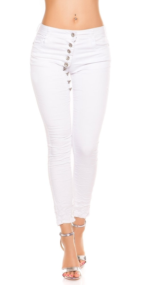 Biele džínsy dámske - 38 Koucla in-ri1205