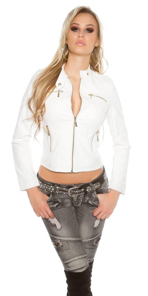 Biela koženková bunda - 38 Koucla in-bu1153wh