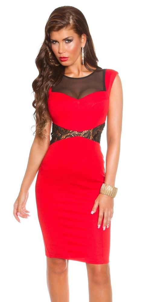 Koktejlové šaty - červené - 38 Koucla in-sat1018re