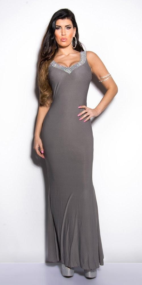 Sivé plesové šaty - M Koucla in-sat1032gr