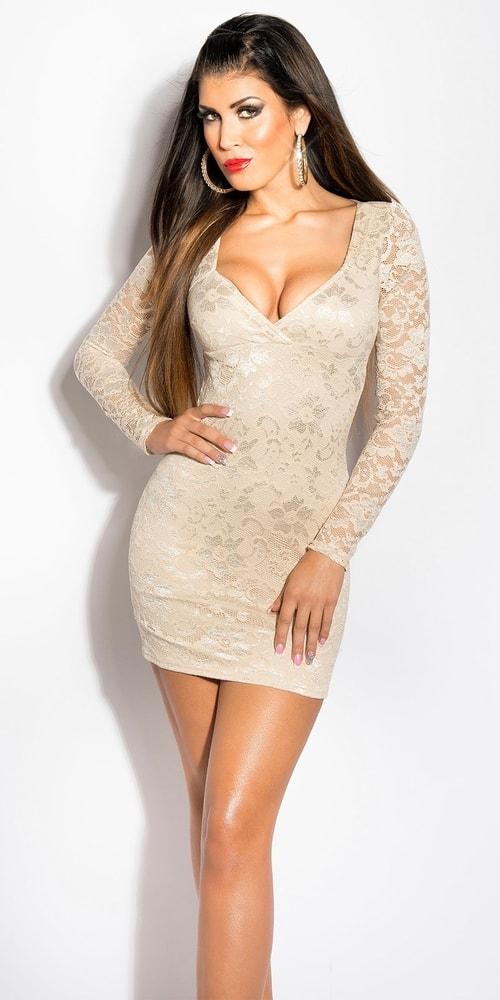 Čipkované večerné mini šaty - 38 Koucla in-sat1372be