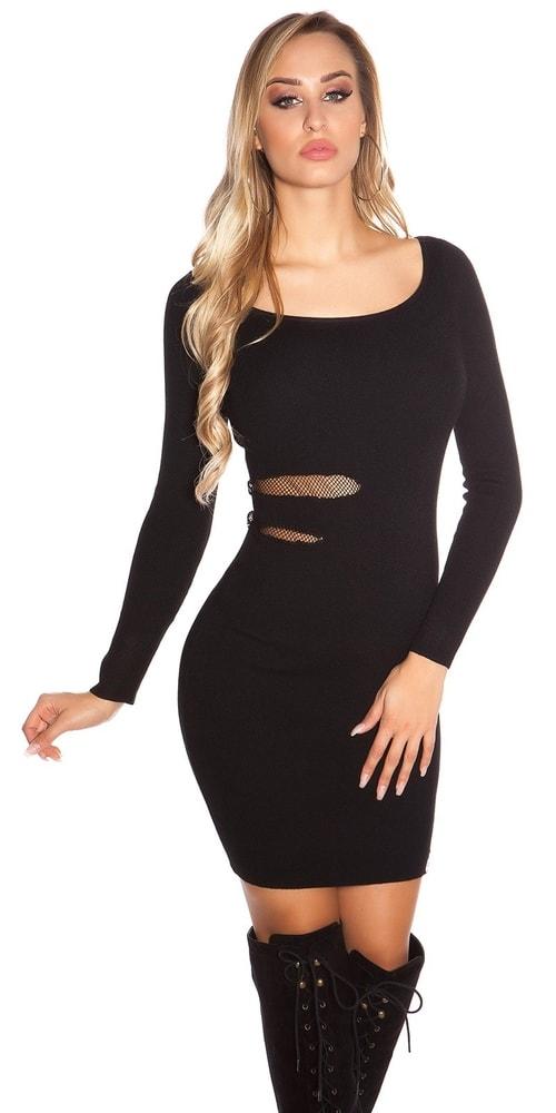 Čierne šaty z úpletu - S/M Koucla in-sat1709bl
