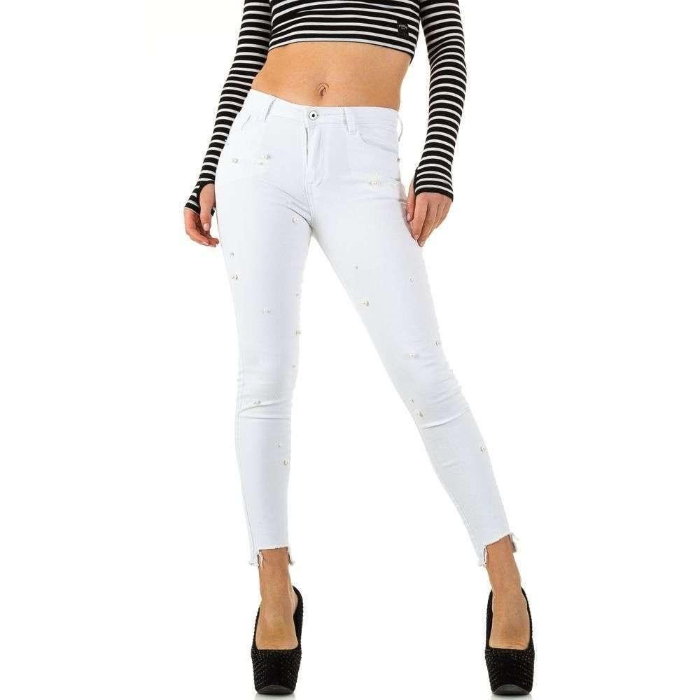 Bílé džíny s perličkami EU shd-ri1028
