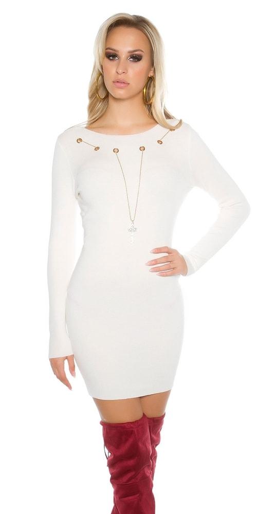 Úpletové šaty s náhrdelníkom Koucla in-sat1468wh