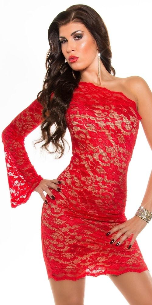 Červené čipkované šaty - 36 Koucla in-sat1188re