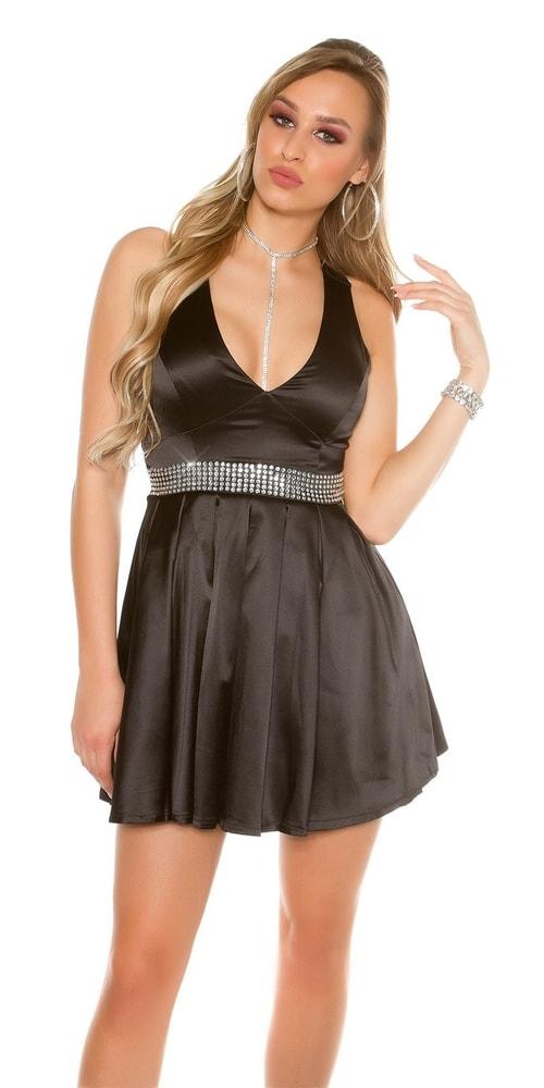 Čierne dámske koktejlové šaty - 34 Koucla in-sat1114bl