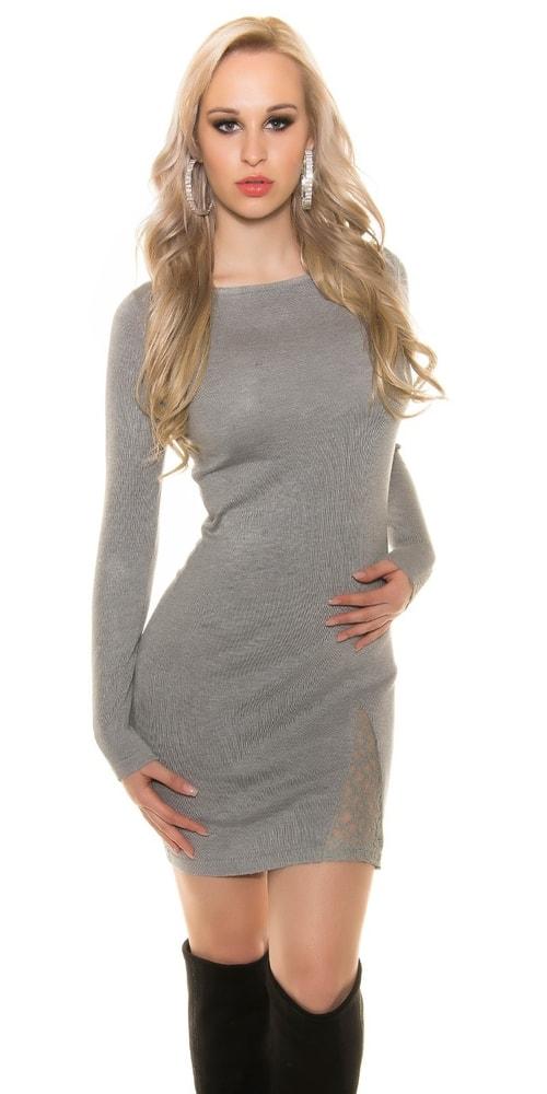 Úpletové šaty s čipkou - S/M Koucla in-sv1353gr