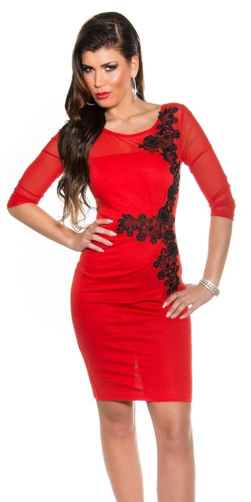 Červené šaty s čipkou - 38 Koucla in-sat1065re