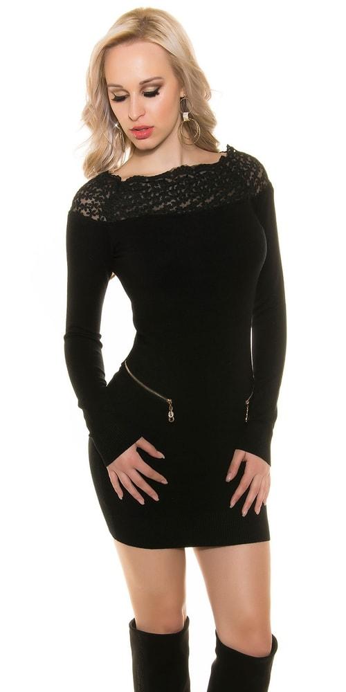 Úpletové šaty s čipkou - S/M Koucla in-sv1454bl