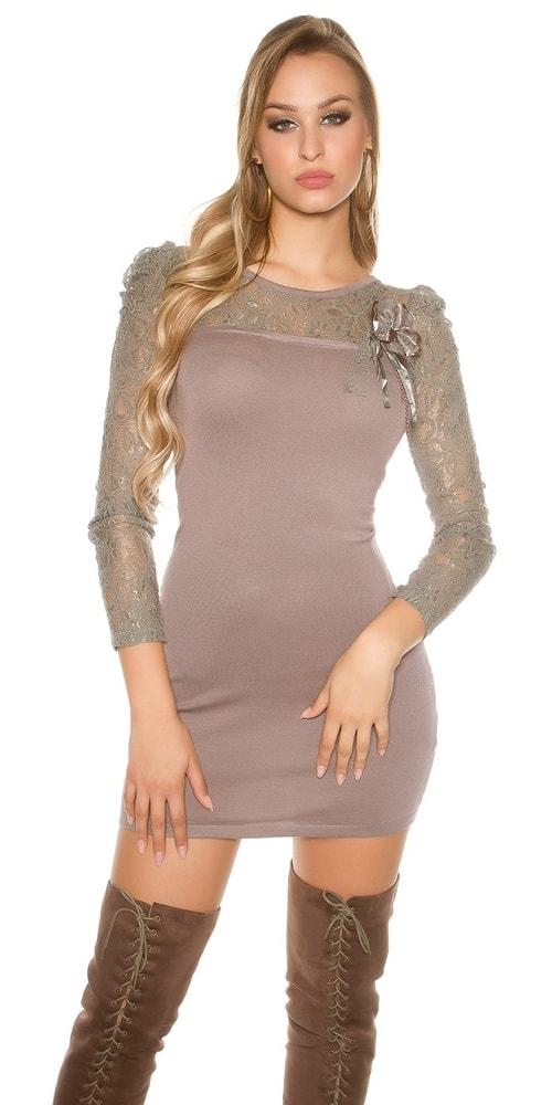 Úpletové mini šaty s čipkou Koucla in-sat1361ca