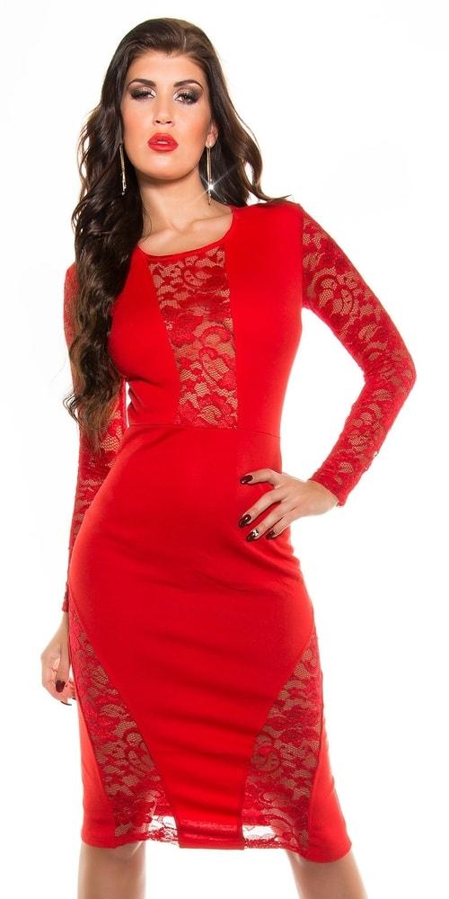 Červené šaty s čipkou - 36 Koucla in-sat1285re