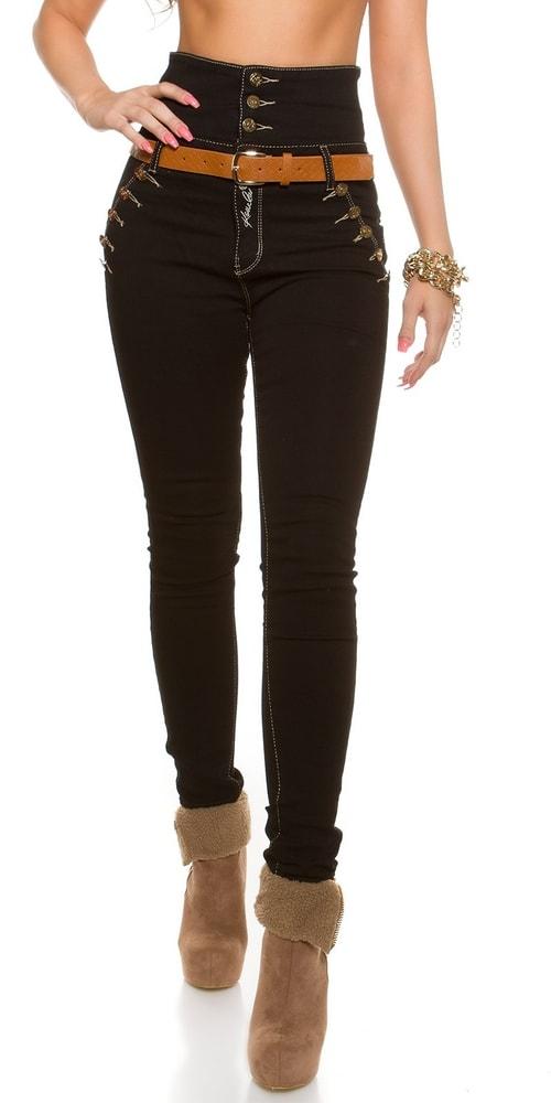 Dámske skinny džínsy s opaskom - 36 Koucla in-ri1007
