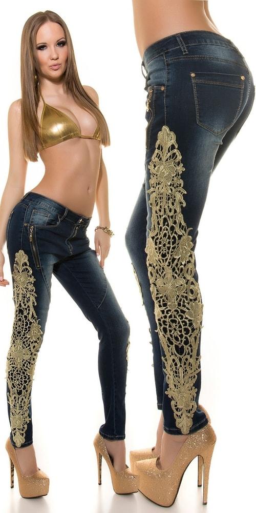 Trendy džínsy s čipkou Koucla in-ri1111