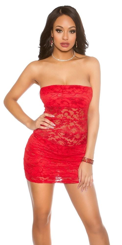 Dámske červené čipkované šaty Koucla in-sat1434re