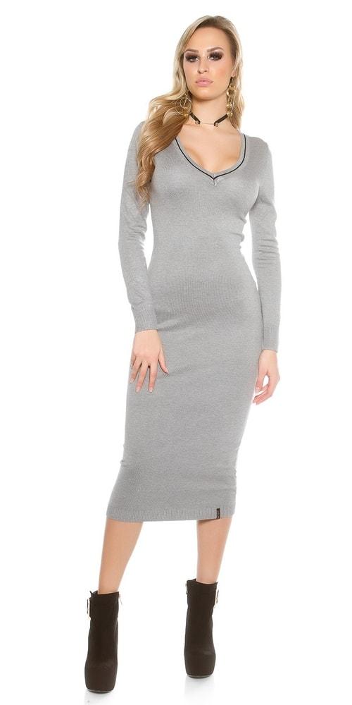 Šedé úpletové dámske šaty Koucla in-sat1435gr