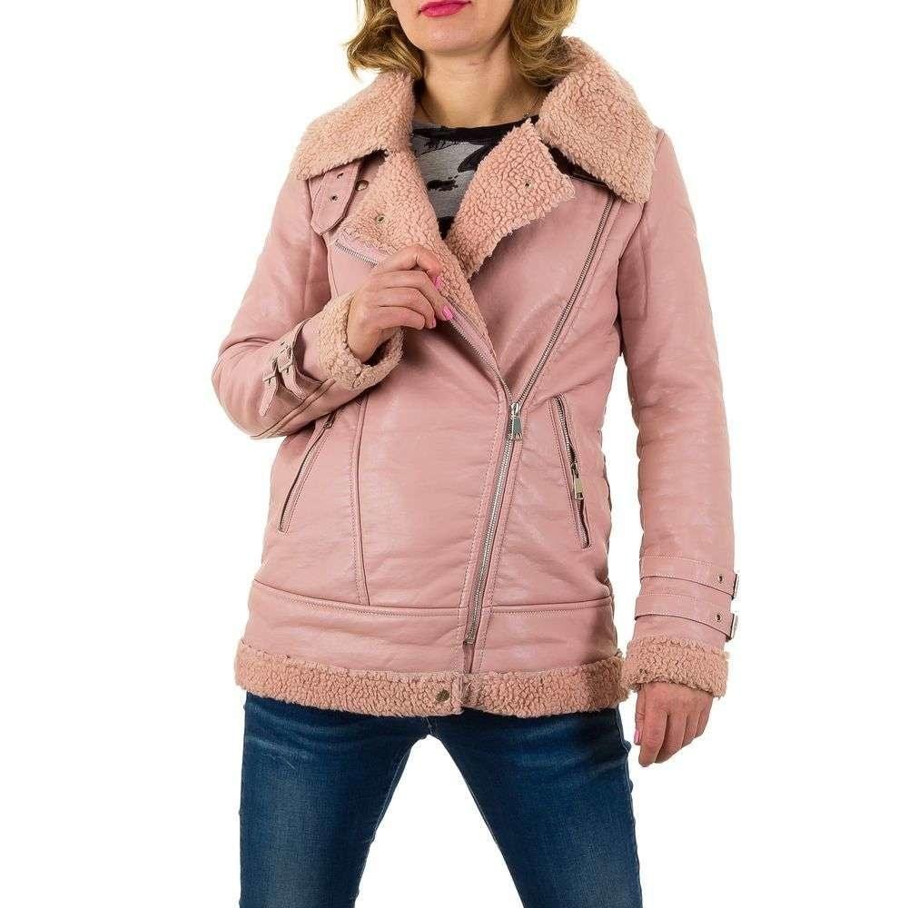 Ružová zimná koženková bunda - S shd-bu1007ro