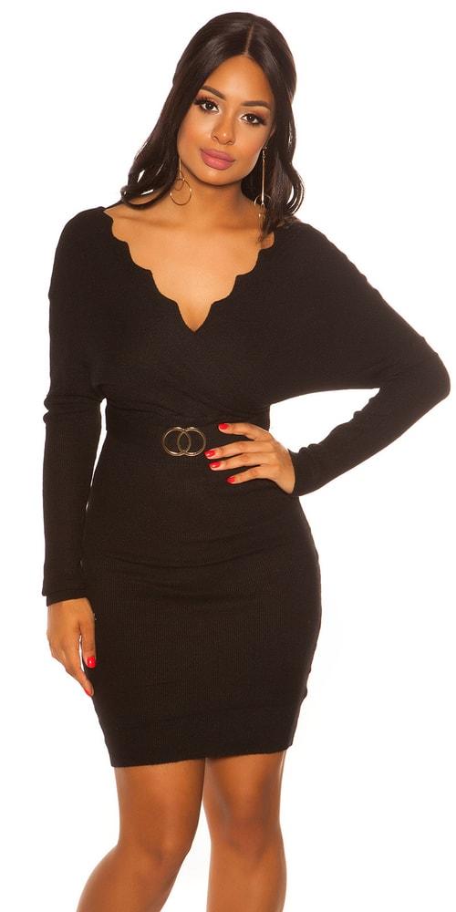 Černé úpletové šaty Koucla in-sat2079bl