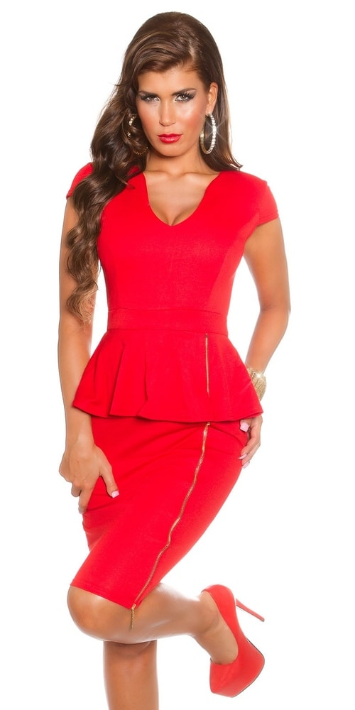 Červené elegantné šaty - 38 Koucla in-sat1251re