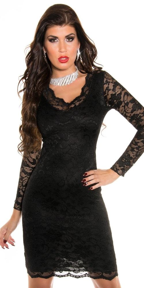 Čierne čipkované šaty Koucla in-sat1742bl