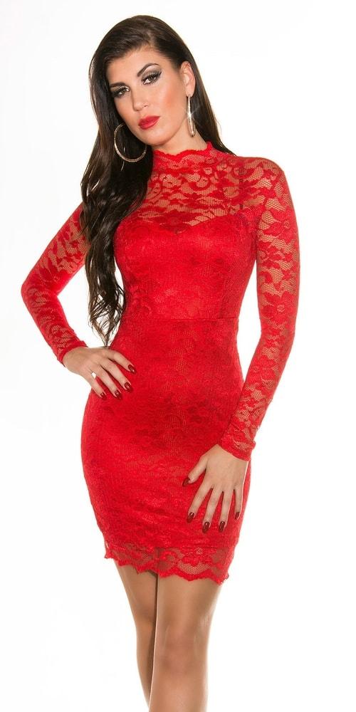 Červené čipkované šaty - 38 Koucla in-sat1072re