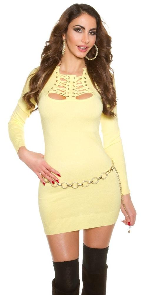 Krátke žlté plesové šaty Koucla in-sat1120le