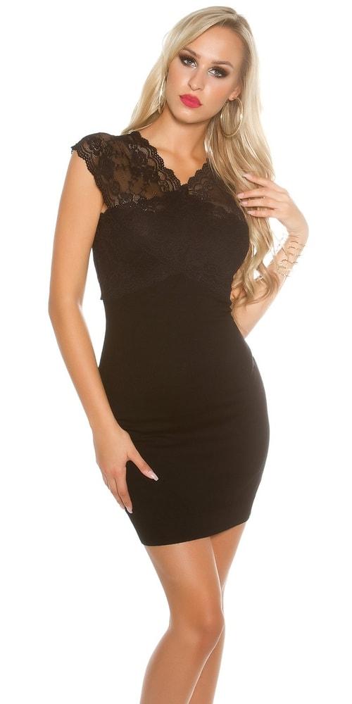 Dámske čierne šaty s čipkou Koucla in-sat1402bl