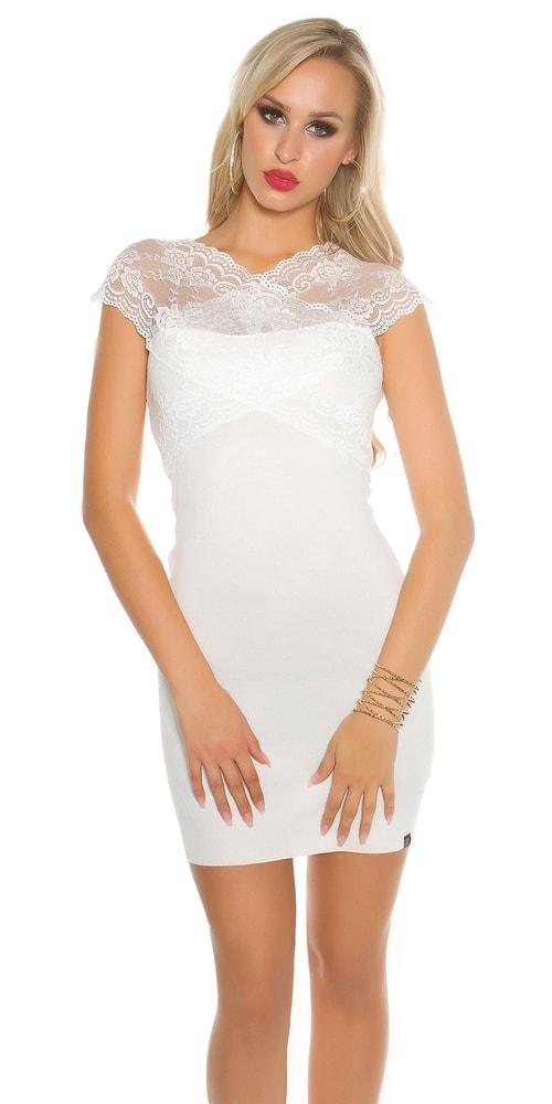 Biele úpletové šaty s čipkou - S/M Koucla in-sat1402wh