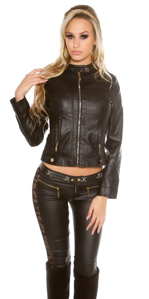 Čierna dámska bunda - 36 Koucla in-bu1156bl
