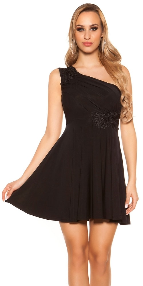 Čierne plesové šaty krátke - L Koucla in-sat1204bl