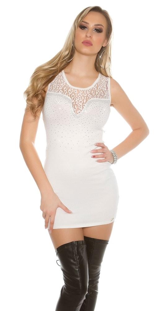 Biele dámske mini šaty - Uni Koucla in-sat1427wh