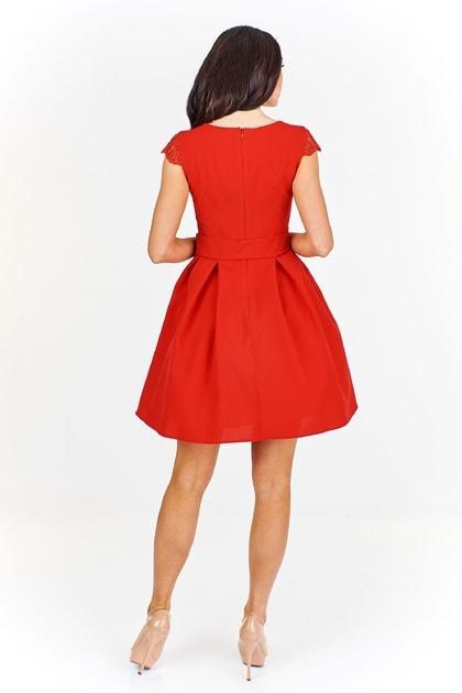 1464bb281da5 Elegantné červené šaty - Ptakmoda - Skater šaty - vasa-moda.sk
