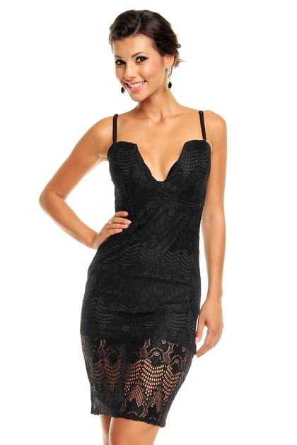 8396a7c751c0 Čierne čipkované šaty - Mayaadi - Večerné šaty a koktejlové šaty - vasa -moda.sk